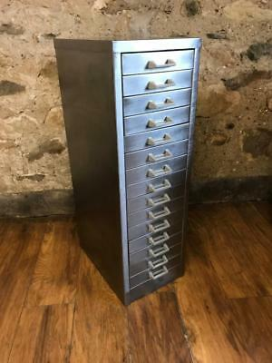 Vintage Industrial Stripped Metal 15 Drawer A4 Size Filing Cabinet Free Delivery