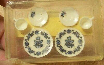 NEW Cute Miniature Set of 6 White & Blue TABLE SETTING for DOLL HOUSE