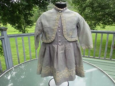 Old Antique Victorian Childs Girls Dress & Matching Jacket, Hard To Find Style