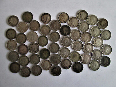 George V silver threepence 50 coins job lot.