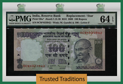 TT 98u* 2009 INDIA 100 RUPEES GHANDI REPLACEMENT / STAR PMG 64 EPQ CHOICE UNC!