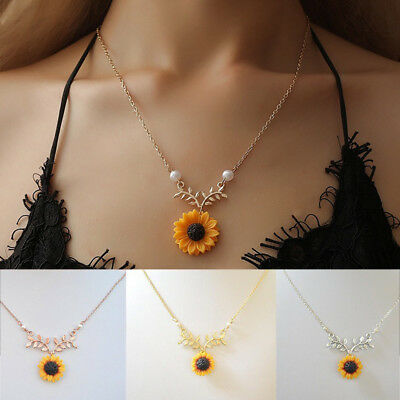 Women Sunflower Leaf Branch Necklace Gold Plated Pendant Fashion Jewelry Gifts