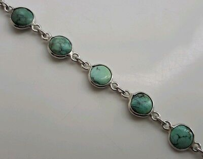 Beautiful Long Vintage Solid Sterling Silver Bracelet Natural Turquoise Stones