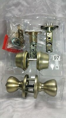 #97 Kwikset Keyed Entry Double Cylinder Combo Pack Antique Brass 96950-154 Opend