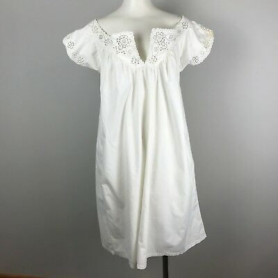 Antique 19th Century French Eyelet Lace Nightgown White Hand stitched Cotton L