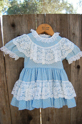 Vintage MONTGOMERY WARD Toddler Tiered Party Dress Lace Light Blue SIZE 2