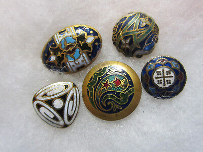 Nice Lot Of 5 Small Antique/ Victorian Enamel On Brass Buttons