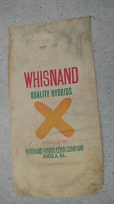 """Vintage Whisnand Quality Hybrids Arcola, Ill. Seed Corn Feed Bag Sack 31""""x16.5"""""""