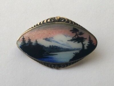 Norwegian Silver And Enamel Brooch C 1950 H C Ostrem Norway Oxo 925S