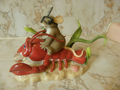 Charming Tails ~ FRIENDSHIP IS A SNAP 89/264 MOUSE ON LOBSTER   NEW   RARE