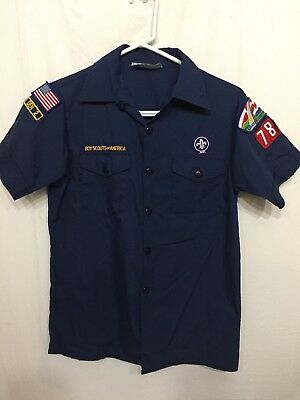 Boy's Blue Boy Scouts Of America Uniform Shirt-Size L
