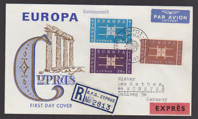 Cyprus 1963 FDC Airmail Expres Cover to Munster Germany Full Set Europa CEPT