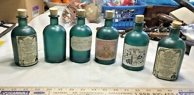 6 Green Frosted Apothecary Bottles With Repro Civil War Medicine Labels