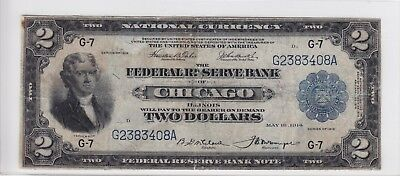 United States 1918 Federal Reserve Bank of Chicago $2 Battleship Note G2383408A