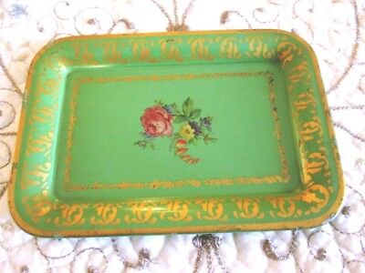 Shabby Vintage Country French Floral Green Dresser Perfume Earring Tole Tray