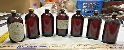 7 Amber Apothecary Bottles With Repro Civil War Medicine Labels