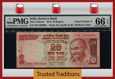 Tt Pk Unl 2015 India 20 Rupees Gandhi Exotic S/n #000008 Pmg 66 Epq Gem 6 Of 8!