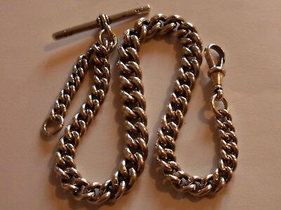 Antique Sterling Silver Graduated Albert Pocket Watch Chain, Heavy, 54.1 Grams!