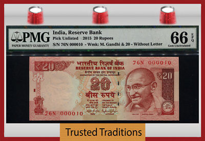 Tt Pk Unl 2015 India 20 Rupees Gandhi Exotic S/n #000010 Pmg 66 Epq Gem 8 Of 8!