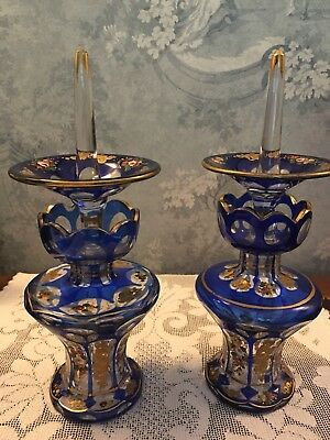 Antique Blue Cut To Clear Floral Decorated Pair of Perfume / Ring holder bottles