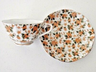 Vintage Lefton China Tea Cup/Saucer Hand Painted Gold Trim W/Yellow Gold Floral