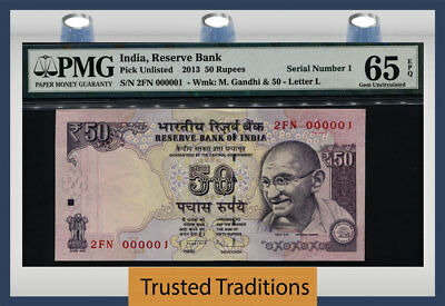 Tt Pk Unl 2013 India 50 Rupees Gandhi Exotic S/n #000001 Pmg 65 Epq Gem 1 Of 10!