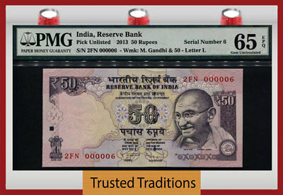 Tt Pk Unl 2013 India 50 Rupees Gandhi Exotic S/n #000006 Pmg 65 Epq Gem 6 Of 10!