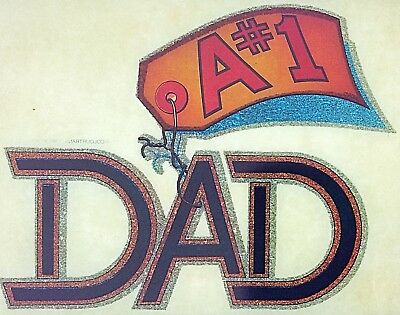"Vintage ""A #1 Dad""  Iron On Transfer"