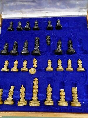 Antique VINTAGE HAND CRAFTED / CARVED STONE CHESS SET / BOARD /  LARGE HEAVY