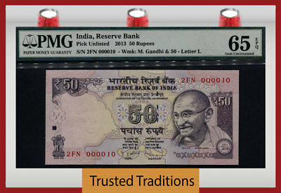 Tt Pk Unl 2013 India 50 Rupees Gandhi Exotic S/n #000010 Pmg 65 Epq Gem 10 Of 10