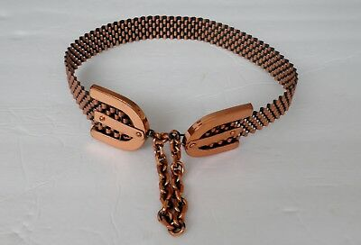 Vintage Midcentury Ladies Renoir Copper Belt w/Chain Closure Size Small