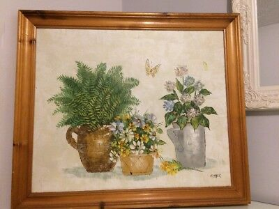 Signed Original Oil on Canvas Large Framed Painting :Still Life with Flowers