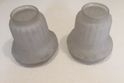 """Antique vintage 2 Frosted Glass Light Globe Shades  2 """" Top, 5"""" H"""
