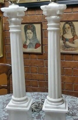 Pair Of Vintage Neo Classical Style Italian Marble/Alabaster Column Lamps