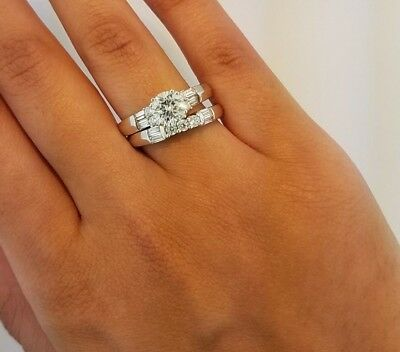 1.5 CT Round Cut Diamond Engagement Ring Set Wedding Band 14K White Gold Bridal