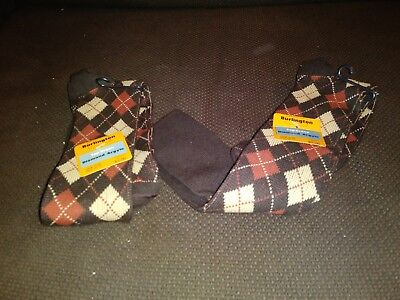 Vintage Burlington Argyle Socks Two Pairs NOS Size 10-13