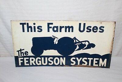 "Vintage c.1950 Ford Tractor Ferguson System Farm Gas Oil 22"" Metal Sign"