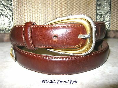 FOSSIL Reddish Brown Leather w/ 4 Circular Silver & Gold Accents Belt Size L