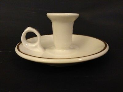 Scammell Lambertson Resterant Ware Trim Chamberstick Champer candle Holder White