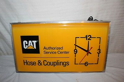 "Vintage Caterpillar Bulldozer Tractor Gas Oil Farm 25"" Lighted Clock Sign~Works"