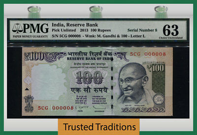 Tt Unl 2013 India 100 Rupees Honored Ghandi Exotic S/n #000008 Pmg 63 4 Of 6!