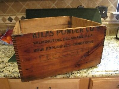 Vintage Wooden Atlas Powder Co.Crate Dangerous High Explosive Box Wilmington DE