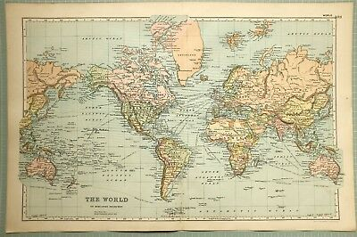 1895 Map ~ The World Central America United States British Isles Europe India