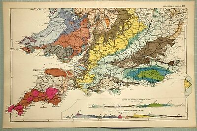 1895 Map ~ Geological Southern England Cornwall Wales Triassic Igneous Chalk