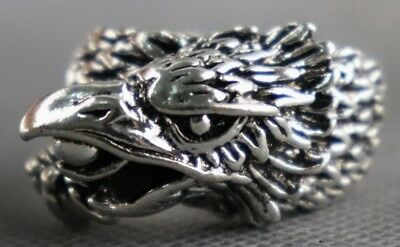 Collectable Chinese Old Tibet Silver Carve Fierce Falcon Unique Noble Ring Gift