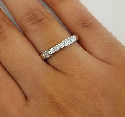 14K Solid White Gold .25 CT Round Baguette Cut Diamond Wedding Band Anniversary