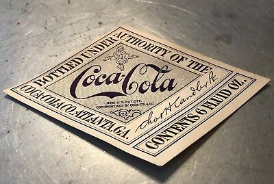 1917 -19 COCA COLA Straight Side Bottle paper Diamond LABEL Chas Candler Antique