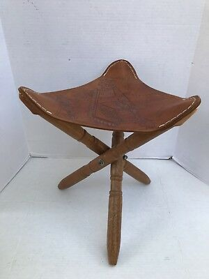 VINTAGE  Leather Tripod Stool Folding Portable Chair Camp Seat  COSTA RICA