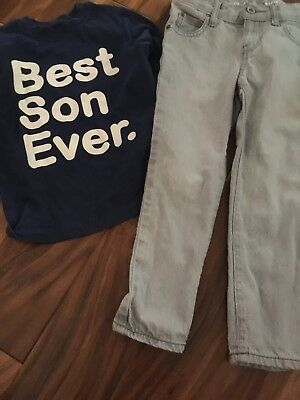 Boys Children's Place Skinny Denim Jeans Size 5 & Old Navy Best Son Ever Shirt