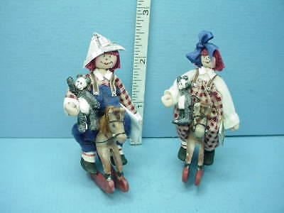 #7777- SPECIAL PRICING 7pc set Dollhouse Miniature Rag Doll Set Handcrafted